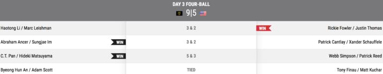 resultats fourballs samedi presidents cup
