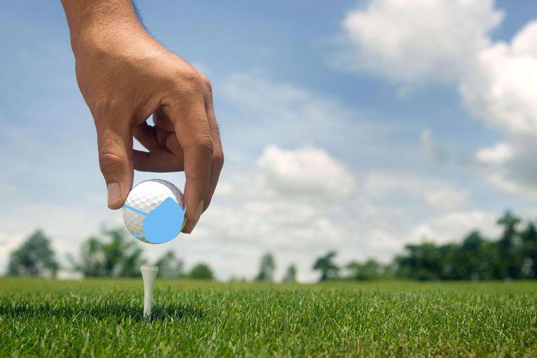 golf ball mask blue covid 19 coronavirus