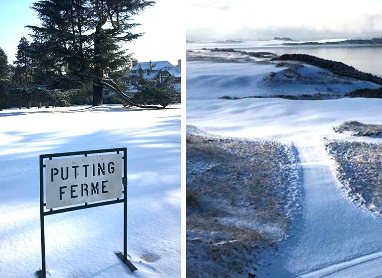 photo golf neige carte postale