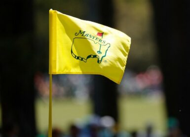 masters augusta pin flag Photo by Jared C. Tilton / GETTY IMAGES NORTH AMERICA / Getty Images via AFP