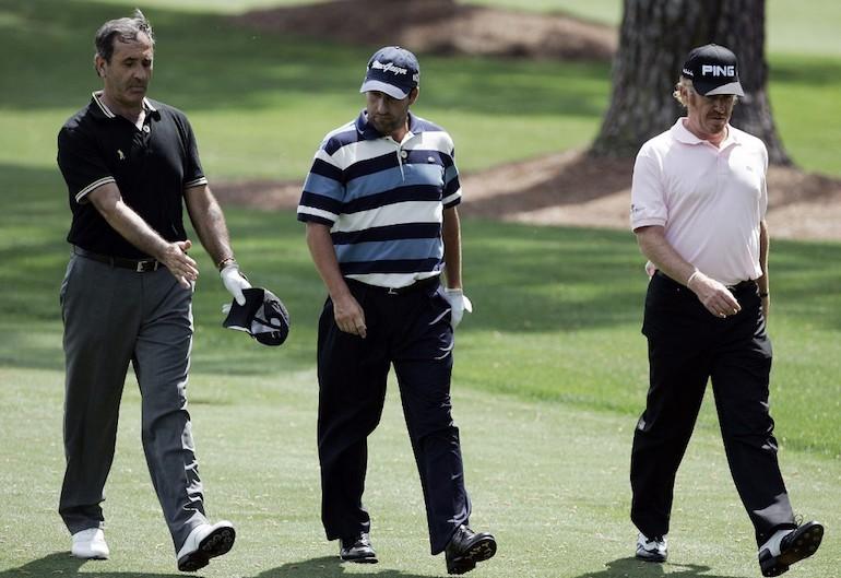 Seve Ballesteros, Jose Maria Olazabal, Miguel Angel Jimenez Photo by JEFF HAYNES / AFP
