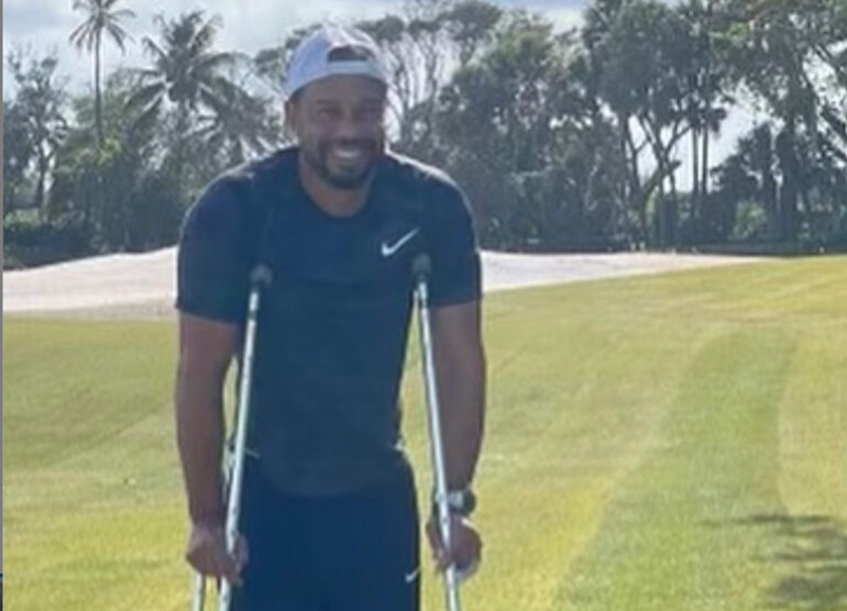 tiger woods bequille chien accident
