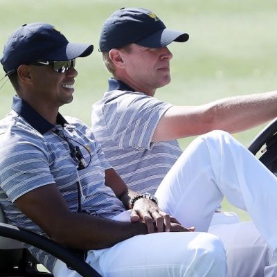 Tiger Woods Captain Steve Stricker Photo by SAM GREENWOOD / Getty Images via AFP