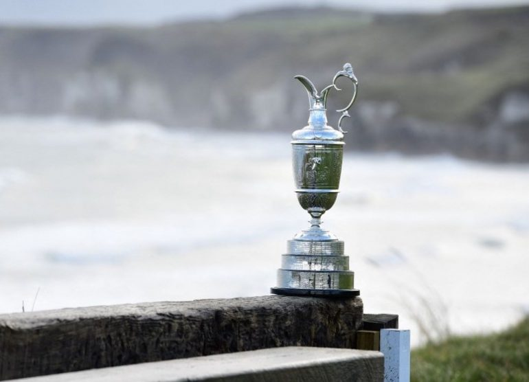 the open claret jug portrush Photo by Charles McQuillan / Getty Images via AFP